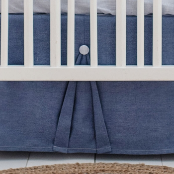 Linen Crib Skirt | Washed Linen in Cape Cod Collection