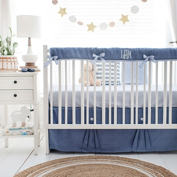Navy Blue Crib Bedding | Washed Linen in Cape Cod Collection