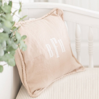 Khaki Linen Throw Pillow | Washed Flax Collection