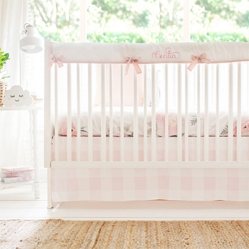 Baby Girl Crib Bedding | Floral Pink Buffalo Plaid Set