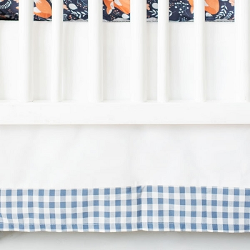 White and Navy Crib Skirt with Blue Gingham Trim