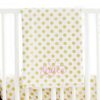 Gold Baby Blanket | Polka Dot Collection