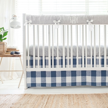 Navy and Gray Crib Bedding | Buffalo Plaid
