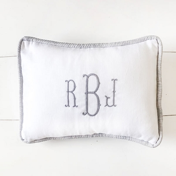 Gray and White Linen Pillow | Washed Linen in Sea Salt Collection