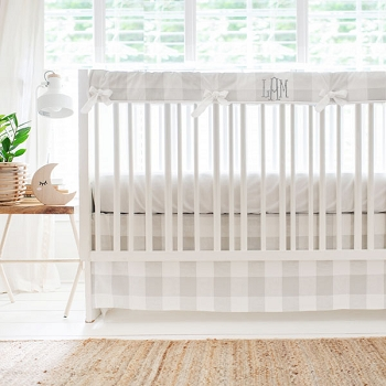 Grey and White Buffalo Plaid Crib Bedding