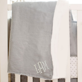 Gray Baby Blanket | Washed Linen in Grey Crib Collection
