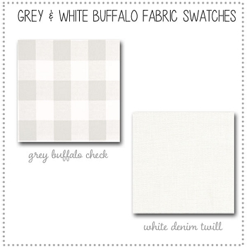 Grey & White Buffalo Check Crib Bedding Collection Fabric Swatches Only