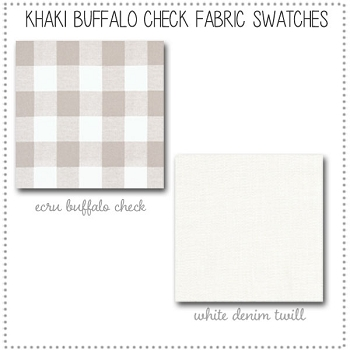 Khaki and White Buffalo Check Crib Bedding Fabric Swatches Only