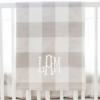 Buffalo Plaid Baby Blanket | Khaki Plaid Bedding Collection