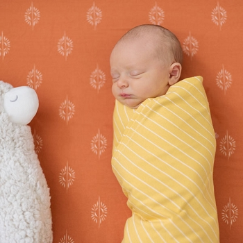 Knit Swaddle Blanket - Mustard Stripe