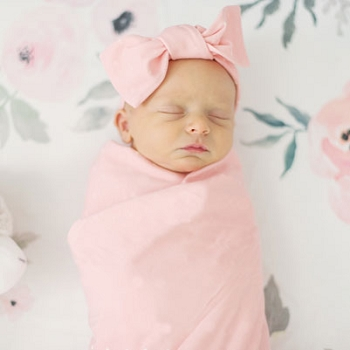 Knit Swaddle Blanket - Pink Solid