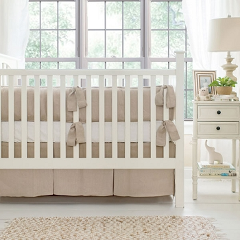 Neutral Nursery Bedding | Washed Linen in Flax Crib Collection