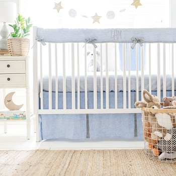 Blue and Grey Crib Bedding | Nantucket Linen Collection