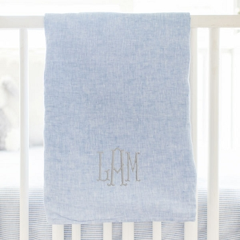 Blue Linen Baby Blanket | Washed Linen in Nantucket & Half Moon Bay Collections