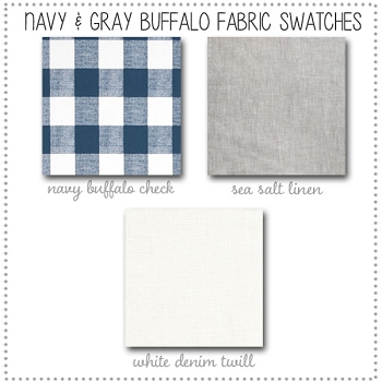 Navy & Gray Buffalo Check Crib Bedding Collection Fabric Swatches Only