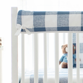 Short Side Crib Rail Guard | Navy Buffalo Plaid Collection