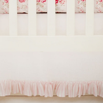 Linen Crib Skirt with Pink Stripe Ruffle | Nostalgic Rose Crib Collection