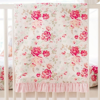 Vintage Floral Baby Blanket | Nostalgic Rose Bedding Collection