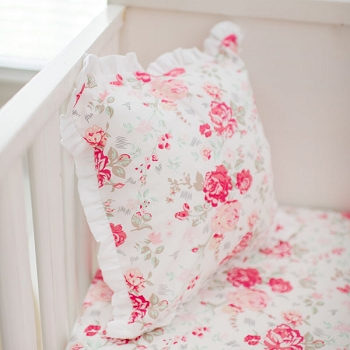 Pink Rose Pillow with Ruffle | Nostalgic Rose Baby BeddingCollection