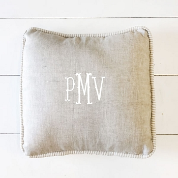 Linen Throw Pillow | Oatmeal & Ecru Stripe Collections