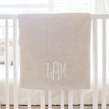 Unisex Baby Blanket | Oatmeal Solid Washed Linen Collection