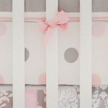 Pink and Gray Polka Dot Crib Sheet | Olivia Rose Collection