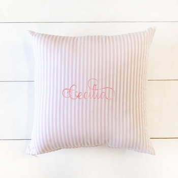 Pink and White Stripe Throw Pillow