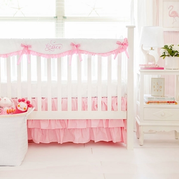 Crib Rail Guard Set | Pink Bumperless Crib Collection