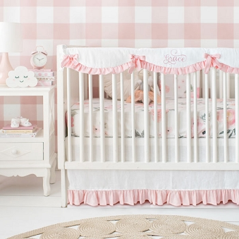 Floral Crib Bedding | Rose Bouquet in White & Blush Collection