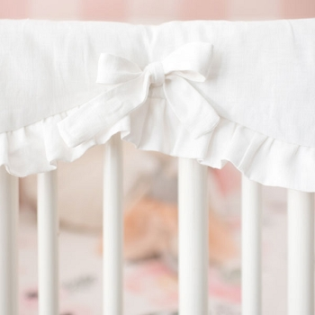 White Linen Crib Rail Guard | Rose Bouquet Collection