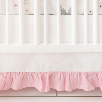 White Nursery Skirt with Pink Ruffle | Rose Bouquet Pink Crib Collection