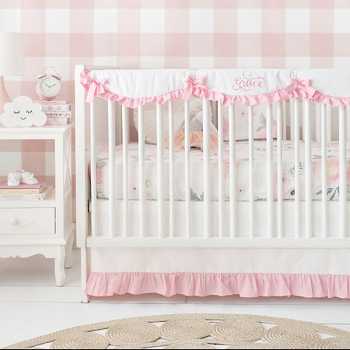 Floral Crib Bedding | Rose Bouquet in Pink Collection