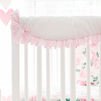 Short Side Crib Rail Guard | Rose Garden in Pink Collection
