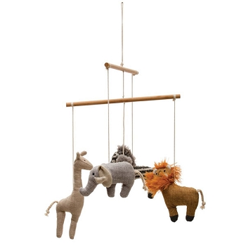 Safari Crib Mobile - Wood & Fabric