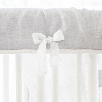 White and Gray Crib Rail Cover | Washed Sea Salt Gray Linen Collection