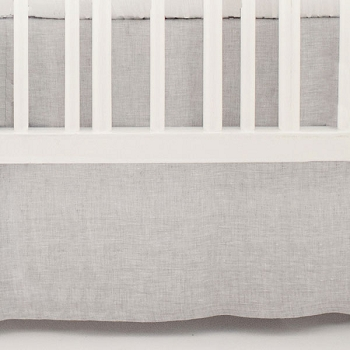 Gray Linen Crib Skirt | Washed Sea Salt Collection