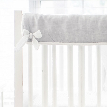 Short Side Crib Rail Guard | Washed Linen in Sea Salt Collection