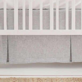 Grey Linen Crib Skirt | Sea Salt Solid Collection