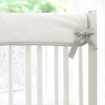 Short Side Crib Rail Guard | Gray and White