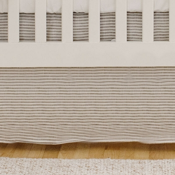 Linen Crib Skirt | Washed Linen in Ecru Stripe & Oatmeal Collections