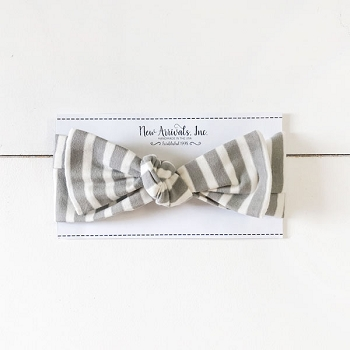 Top Knot Headband - Gray Stripe