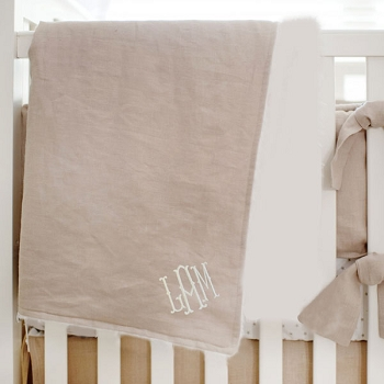 Unisex Baby Blanket | Washed Linen in Flax Collection