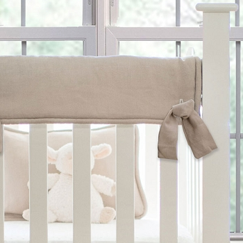 Short Side Crib Rail Guard | Washed Linen in Flax Collection