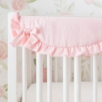 Short Side Crib Rail Guard | Washed Linen in Blush Collection