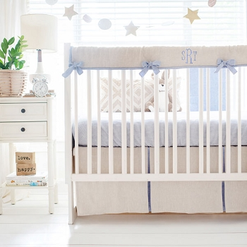 Khaki and Blue Crib Bedding Set | Half Moon Bay Linen Collection