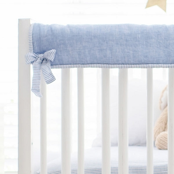 Short Side Crib Rail Guard | Washed Linen in Cabo Collection