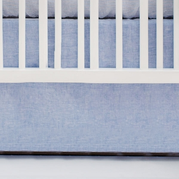 Blue Crib Skirt | Washed Linen in Cabo Collection