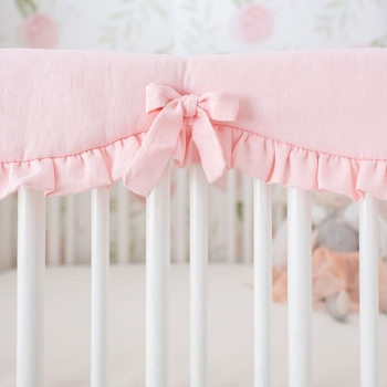 Crib Rail Guard | Washed Linen in Blush Crib Collection