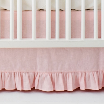 Pink Ruffle Crib Skirt | Washed Linen in Blush Collection