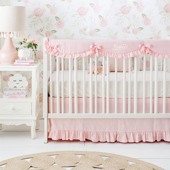 Blush Pink Crib Bedding Set | Washed Linen in Dusty Pink Crib Collection